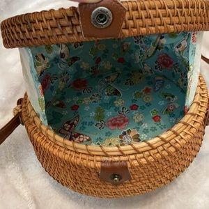 Boho Round Wicker Rattan Basket Crossbody Bag